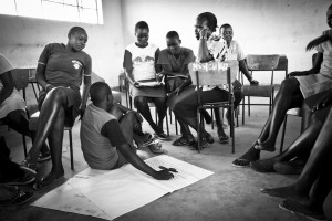 Joyce, a CHW in the CHGN Cluster in East Pokot, Kenya, talks to school girls in Ngoron about Female Genital Mutilation (FGM).